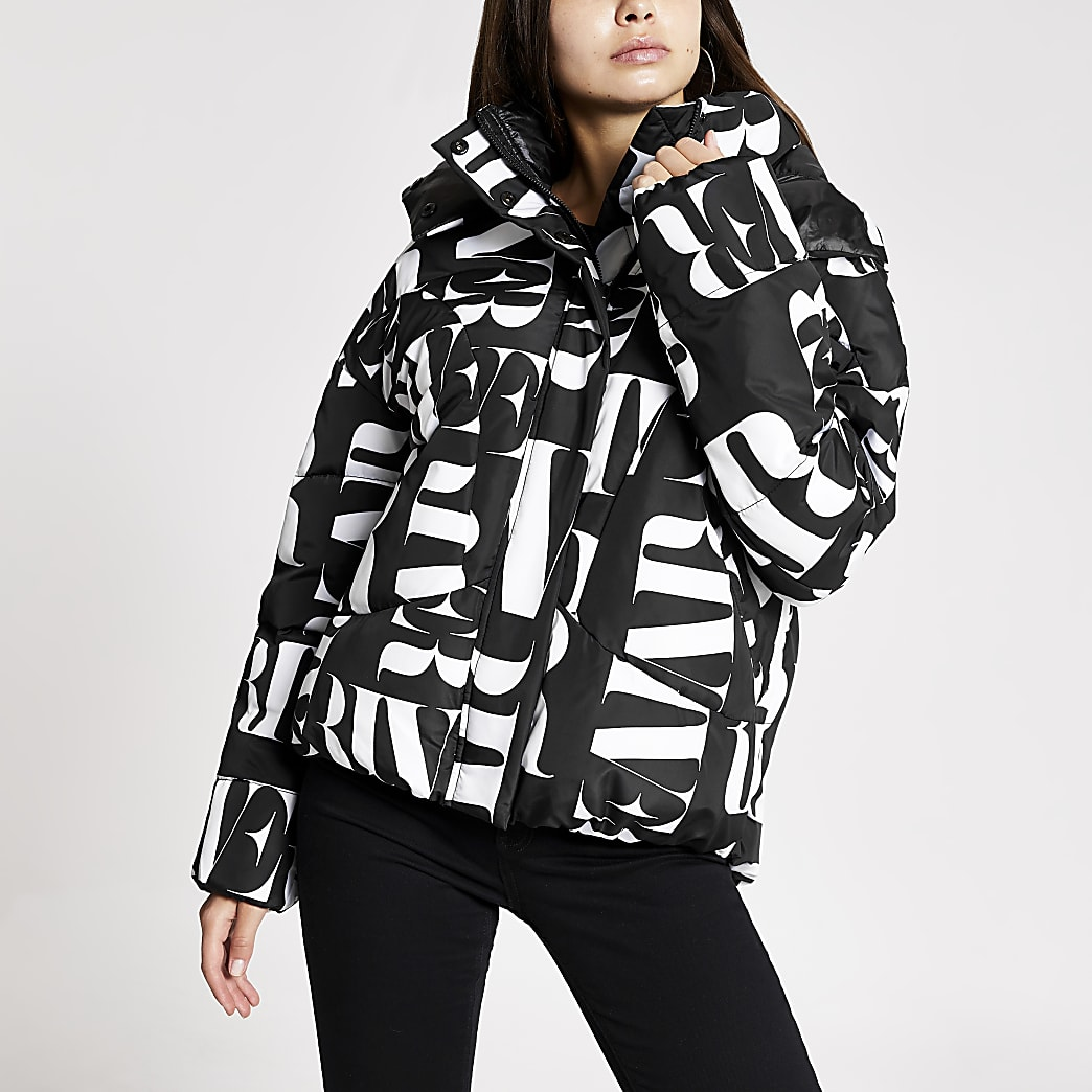 Black RI printed puffer jacket