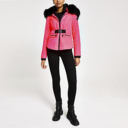 Neon pink faux fur hood belted jacket