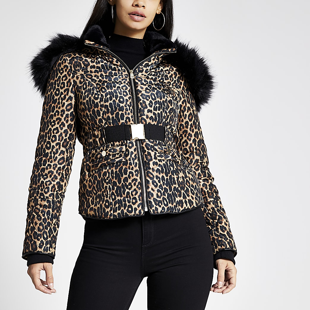 Brown leopard print fitted padded jacket