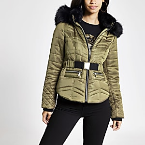 Khaki faux fur hood padded jacket