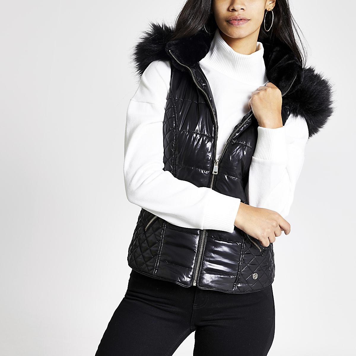Black faux fur hood padded gilet