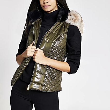 Khaki faux fur hood padded gilet