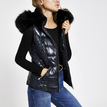 Navy faux fur hood padded gilet