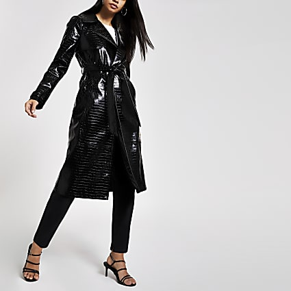 Black vinyl croc embossed trench coat