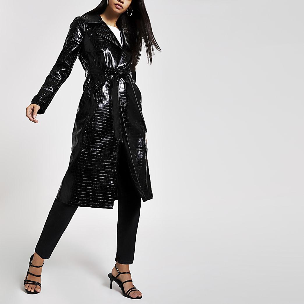Black vinyl croc embossed trench coat