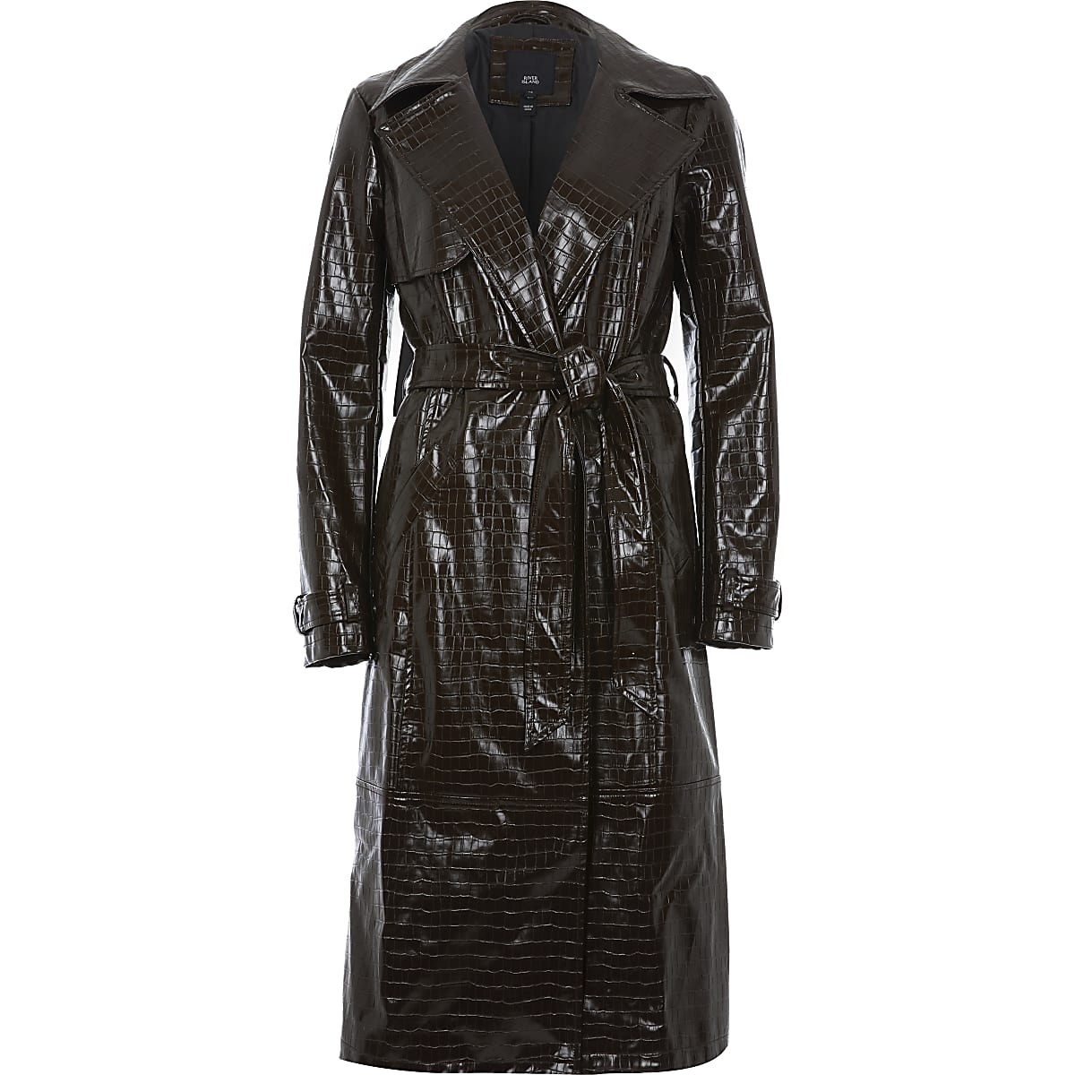 64a147d54 Brown croc embossed belted trench coat