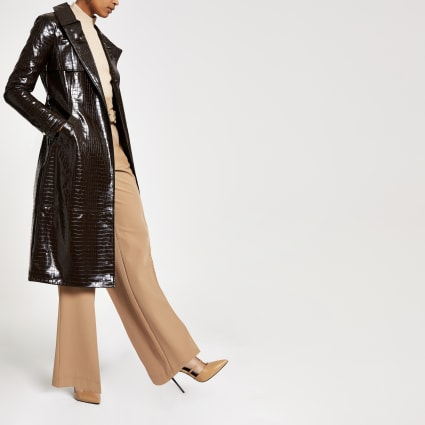 Brown croc embossed belted trench coat