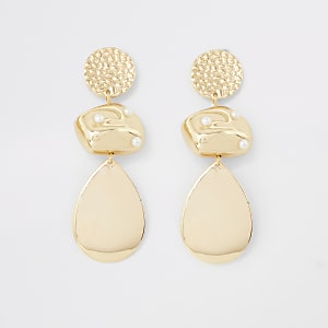 Gold colour scattered pearl drop earrings