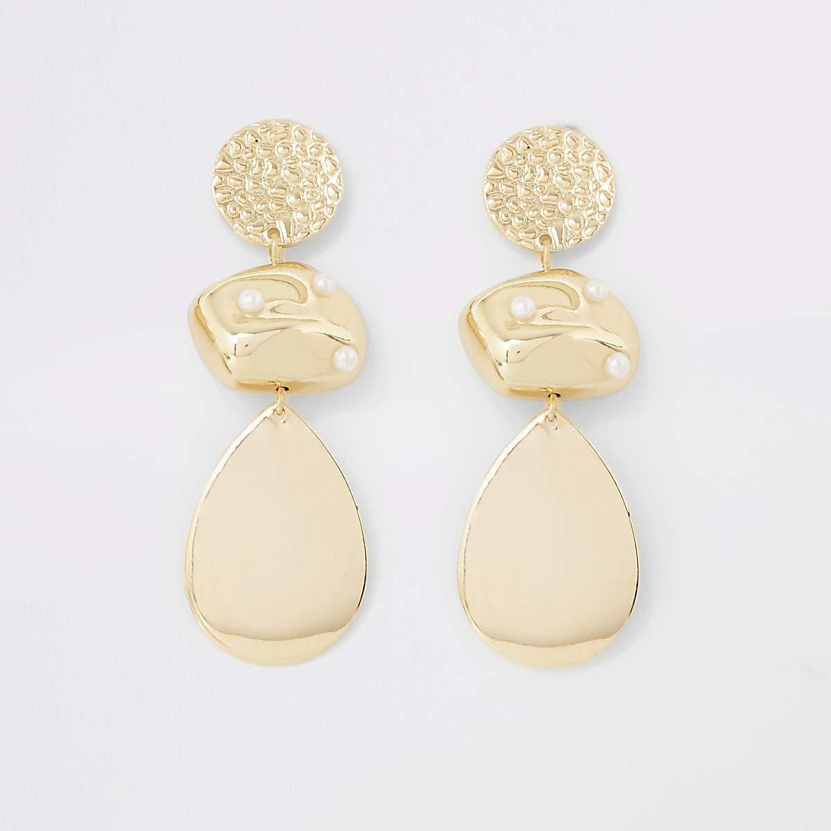 Gold color scattered pearl drop earrings