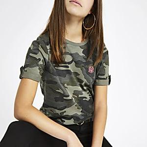 Petite khaki camo print rolled sleeve T-shirt