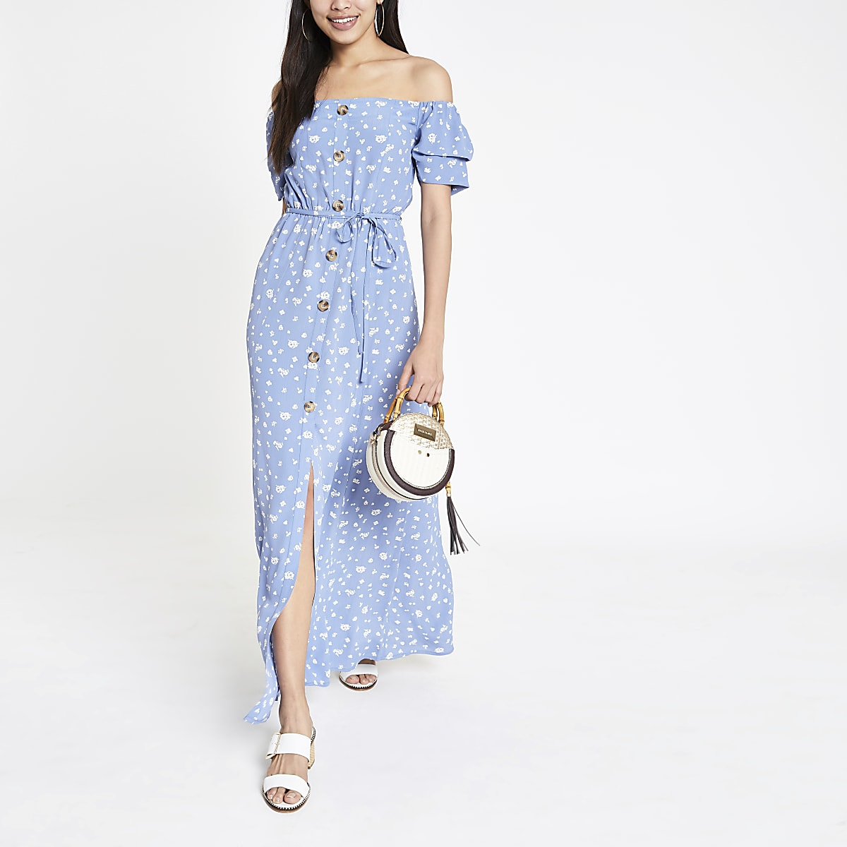 Blue floral button front bardot maxi dress