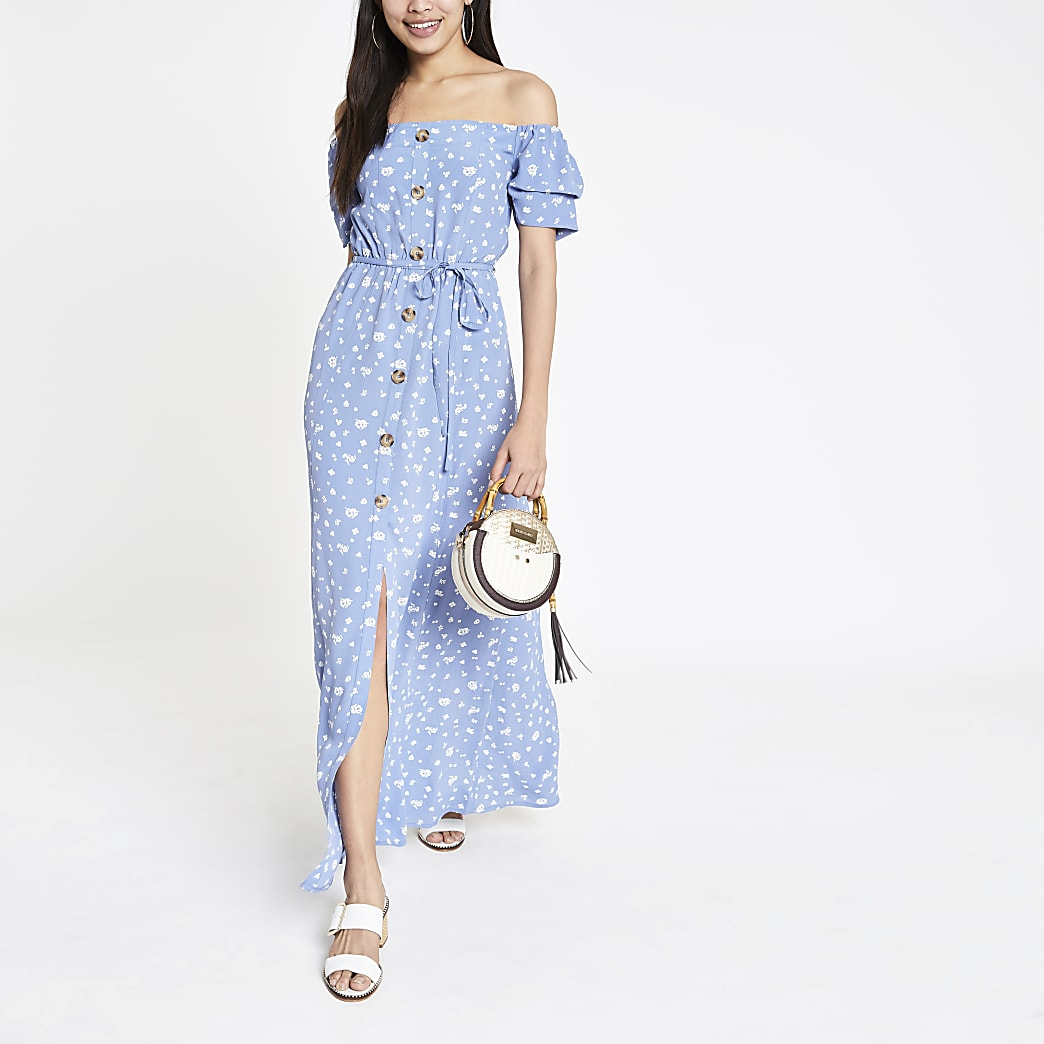 Blue floral button front bardot maxi dress