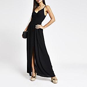 Robe longue noire boutonnée