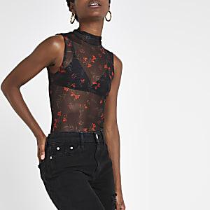 Black mesh floral print bodysuit