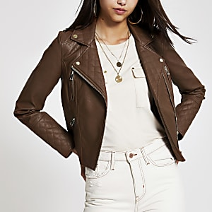 Brown faux leather biker jacket