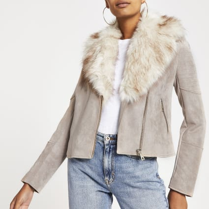 Beige faux fur trim biker jacket