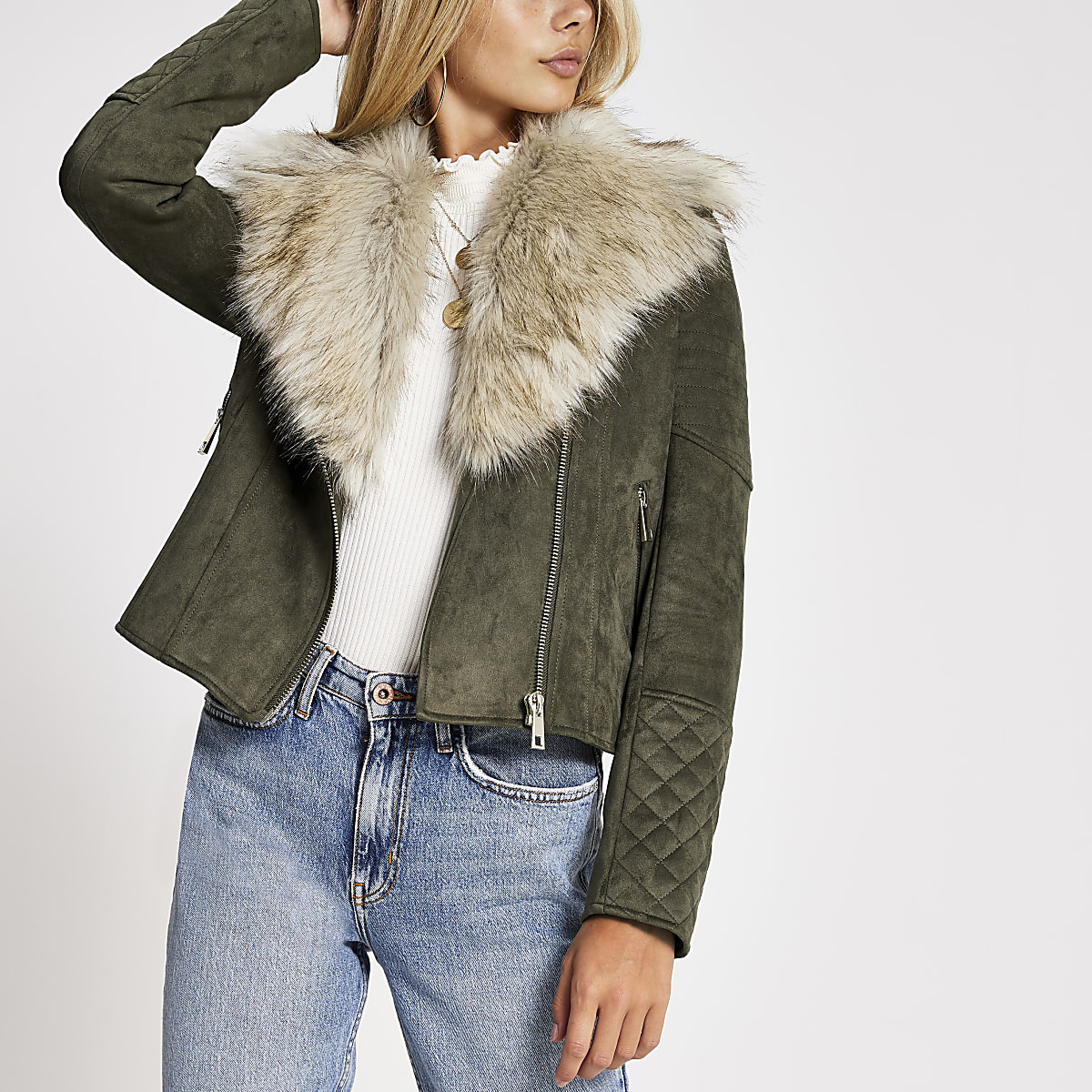 Khaki faux fur collar suede biker jacket
