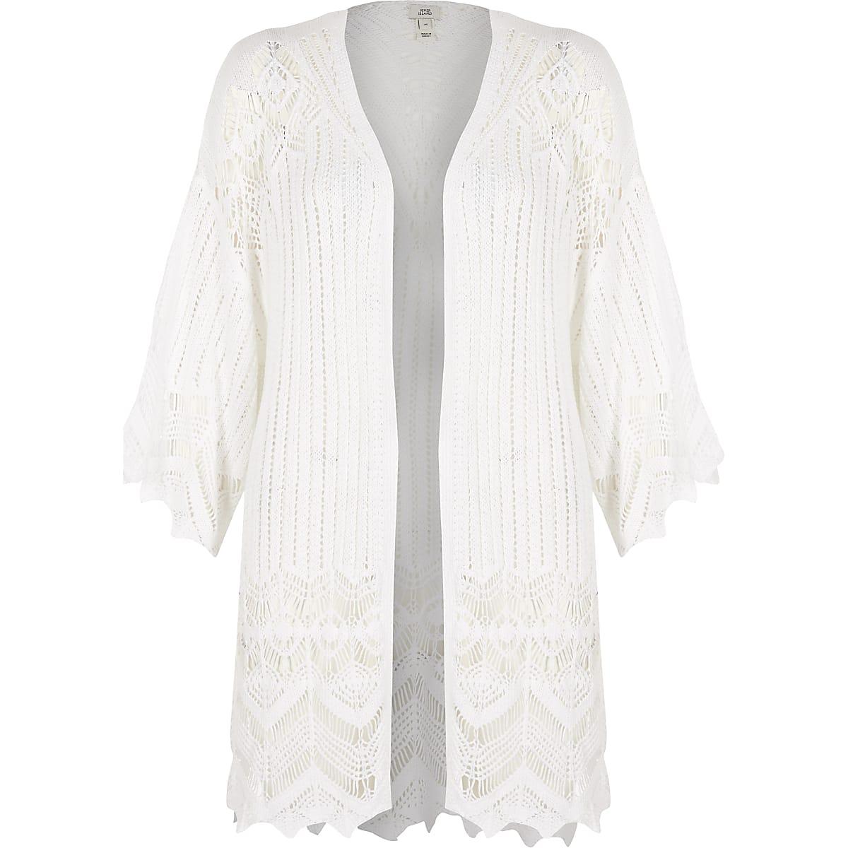 White Crochet Knit Cardigan Cardigans Knitwear Women