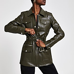 Khaki faux leather utility jacket