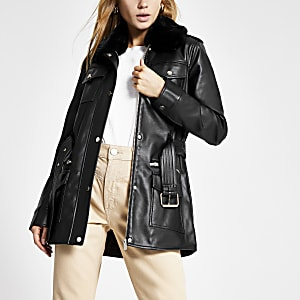 Black faux leather utility army jacket