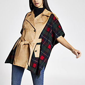 Light beige check belted cape jacket