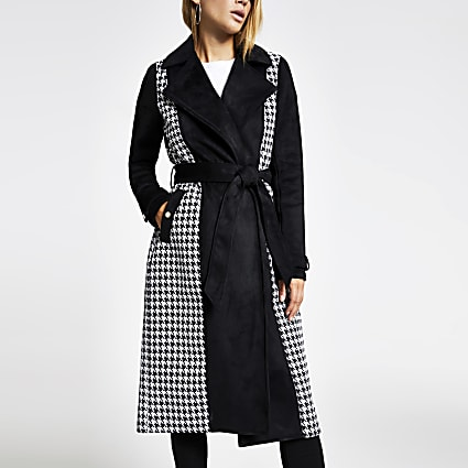 Black suedette dogtooth check trench coat