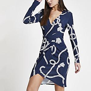 Marineblauwe overhemdjurk met overslag en print