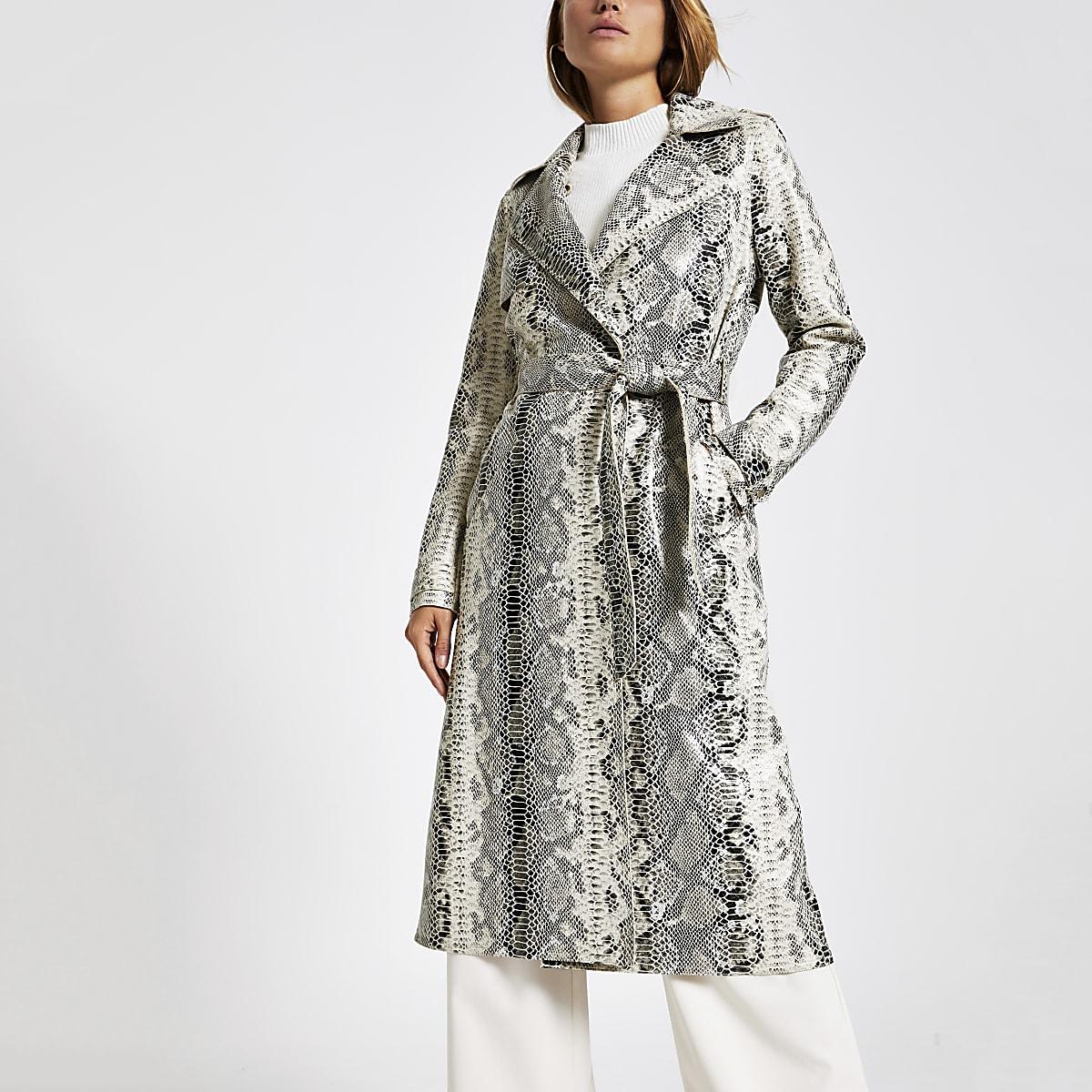 Beige snake print belted waist trench coat