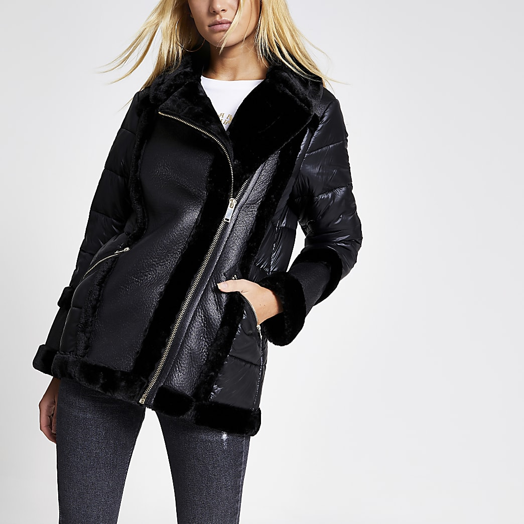Black faux fur padded aviator jacket