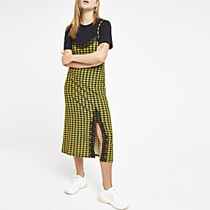 Gele geruite halflange cami-jurk