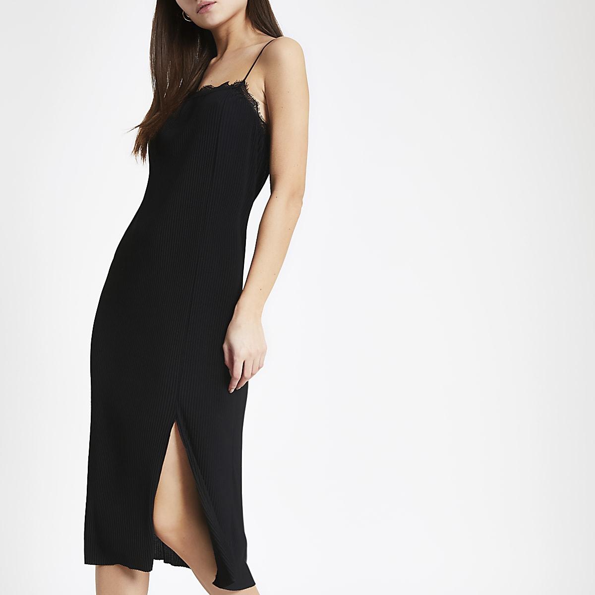 Black lace cami midi dress