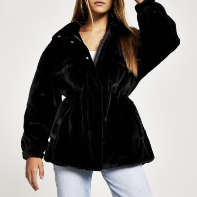 Black Faux Fur Utility Jacket by River Island