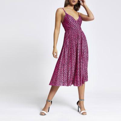 Pink print pleated wrap dress