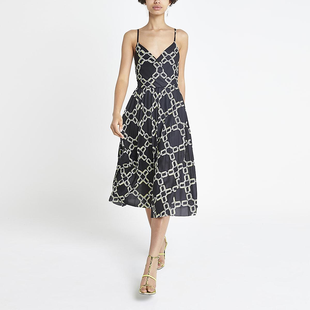 Black chain print pleated wrap dress