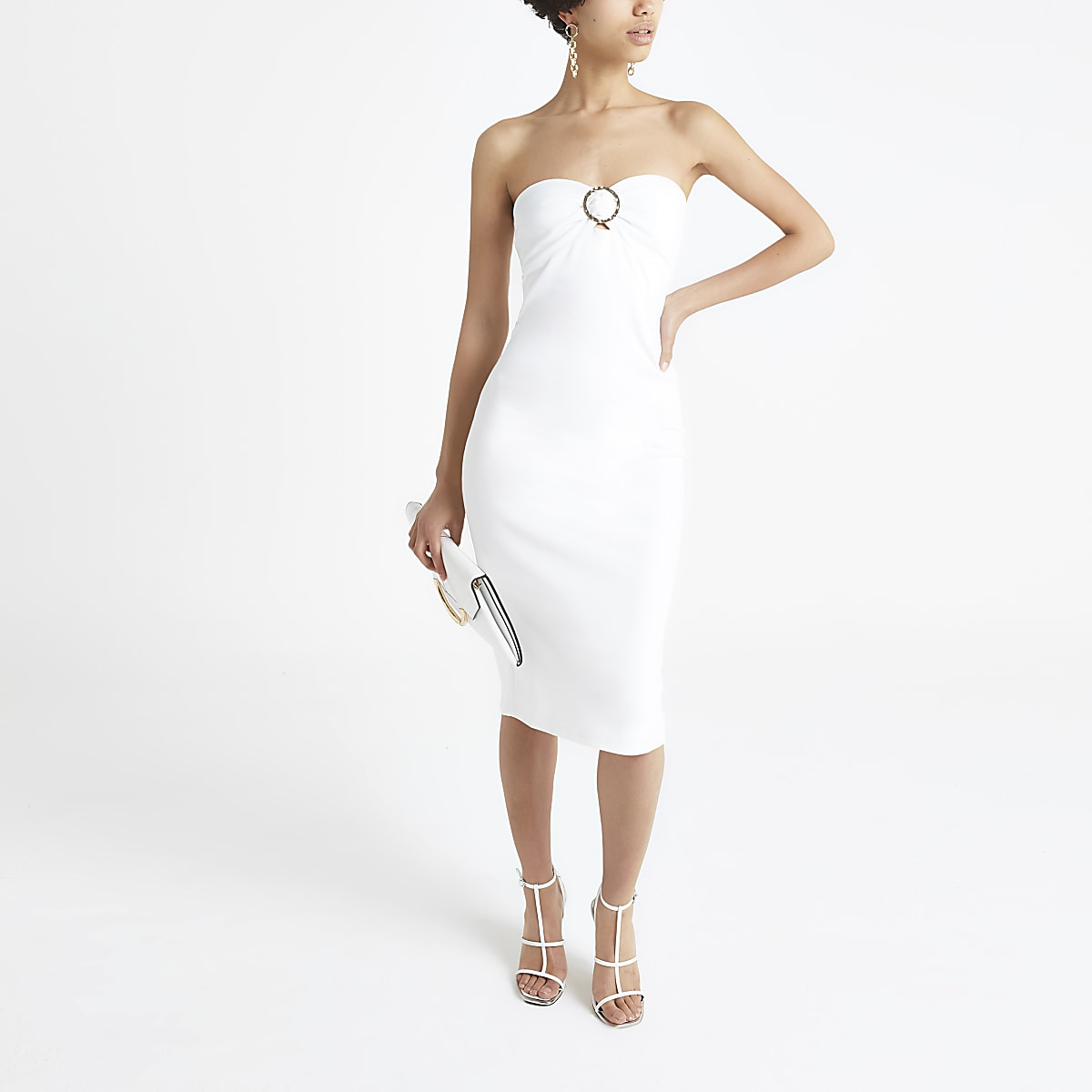 White bandeau jersey midi dress