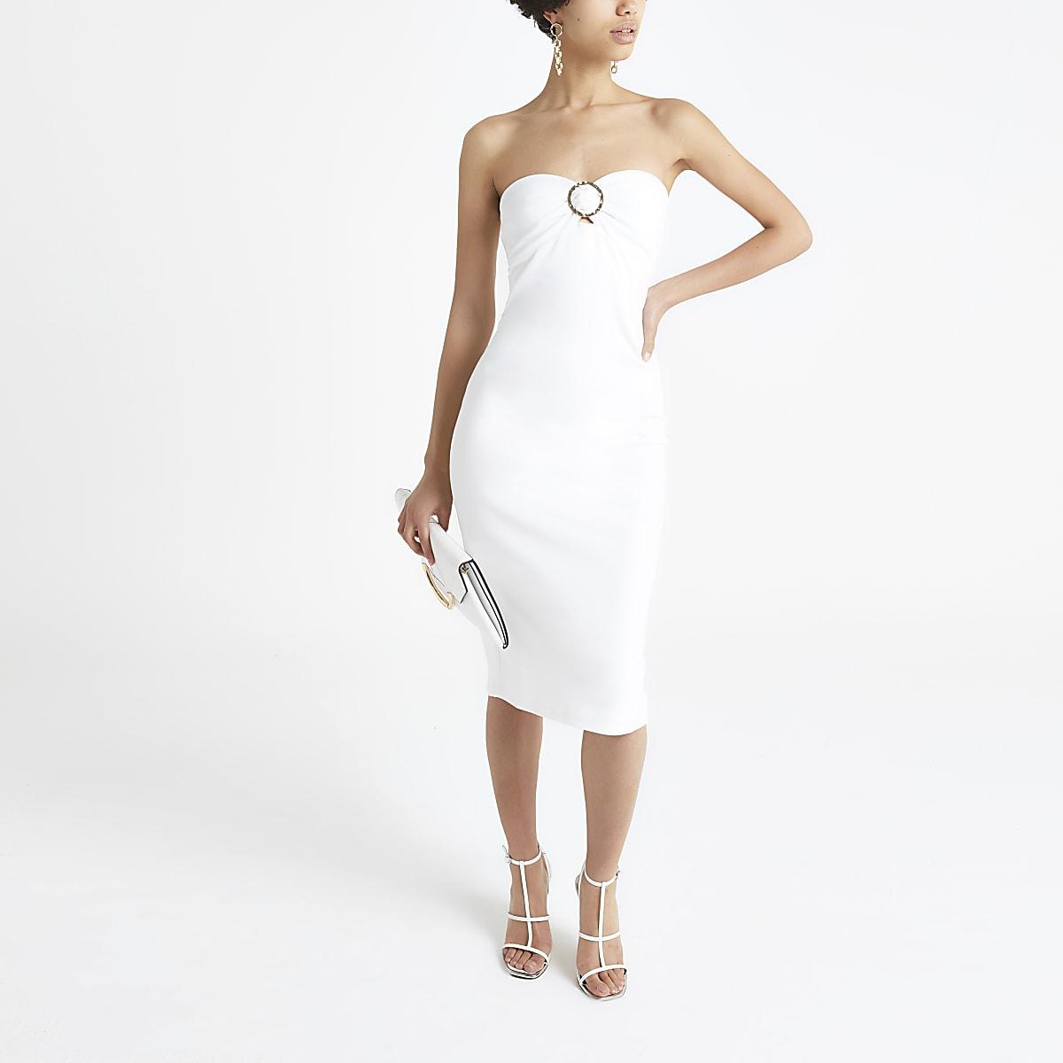 Witte bandeau jersey midi-jurk
