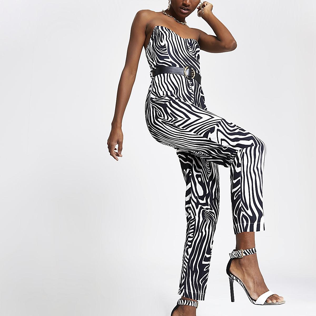 White zebra print bandeau jumpsuit
