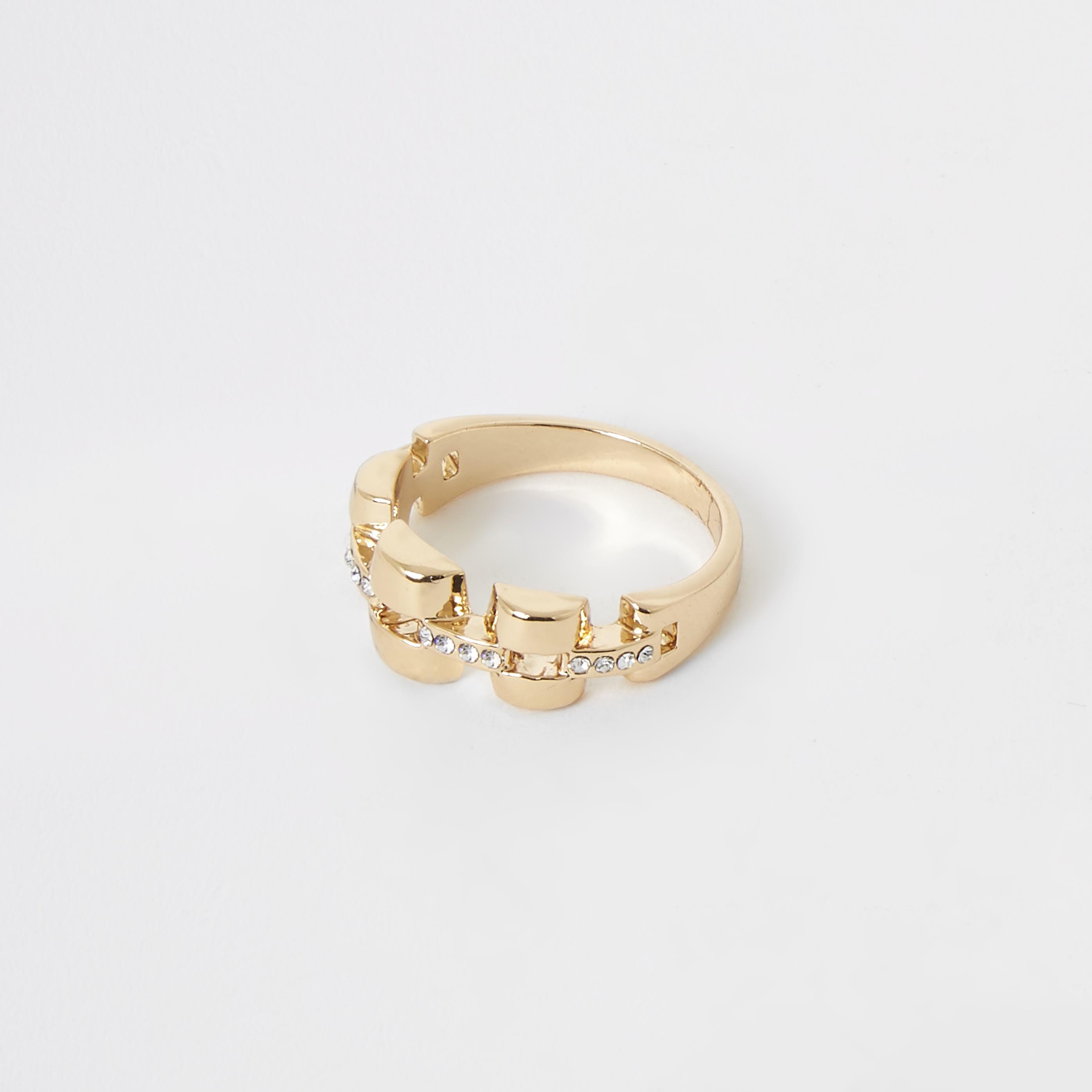 RIVER ISLAND   Womens Gold Colour Chunky Barrel Ring   Goxip