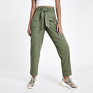 Khaki utility peg pants