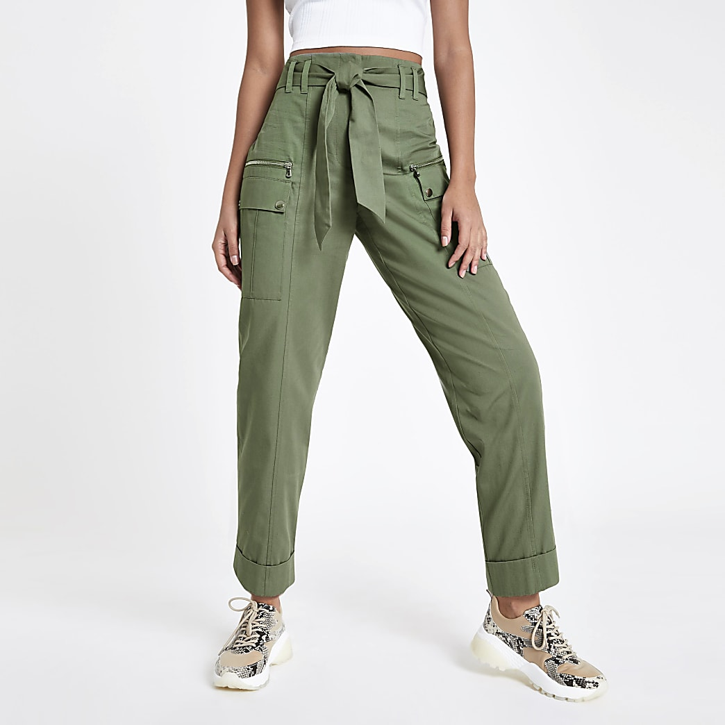 Khaki utility peg leg trousers