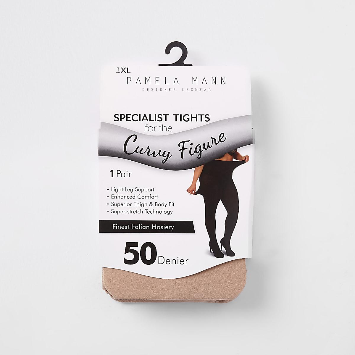 Beige 50 denier plus size tights