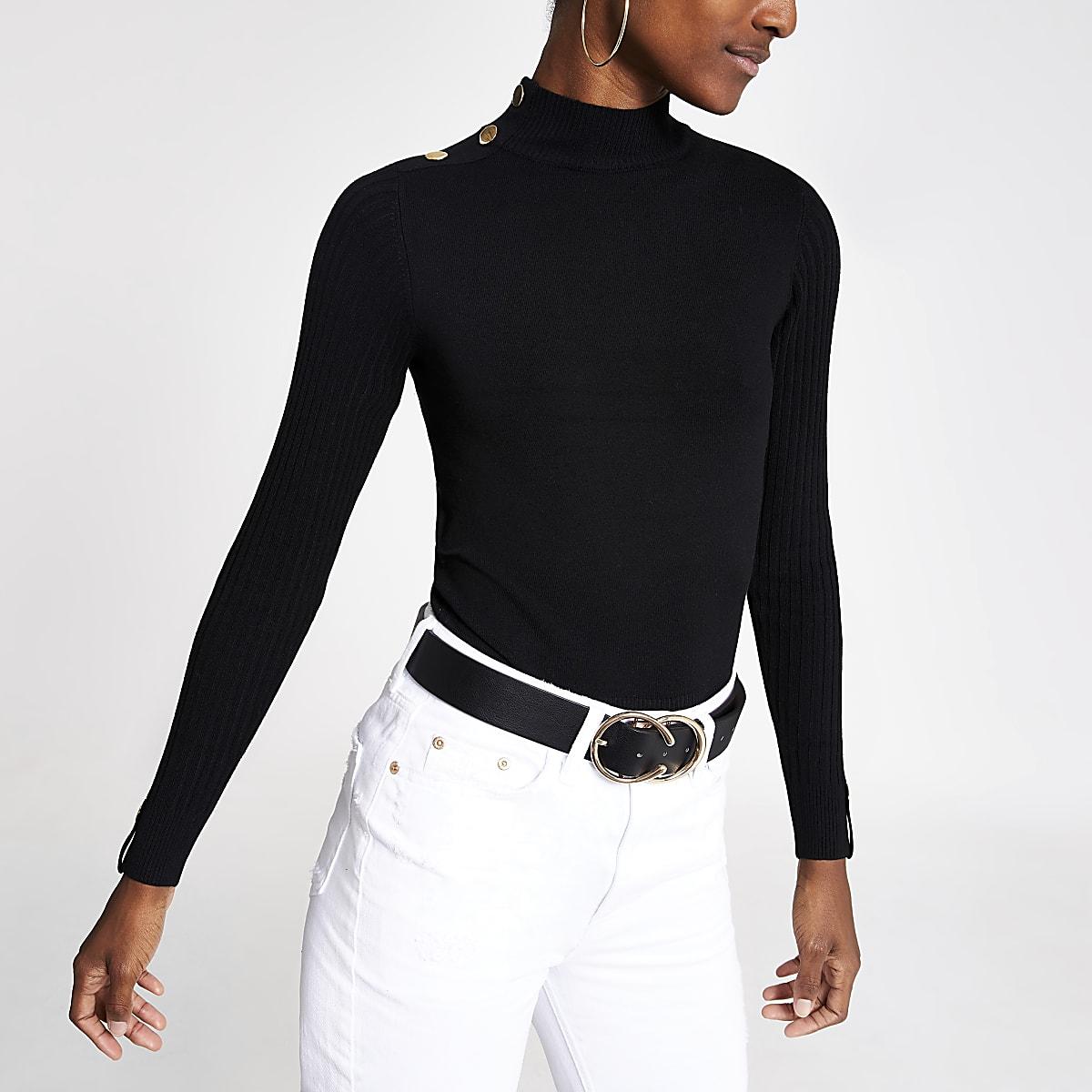 Zwarte pullover met col en knopen