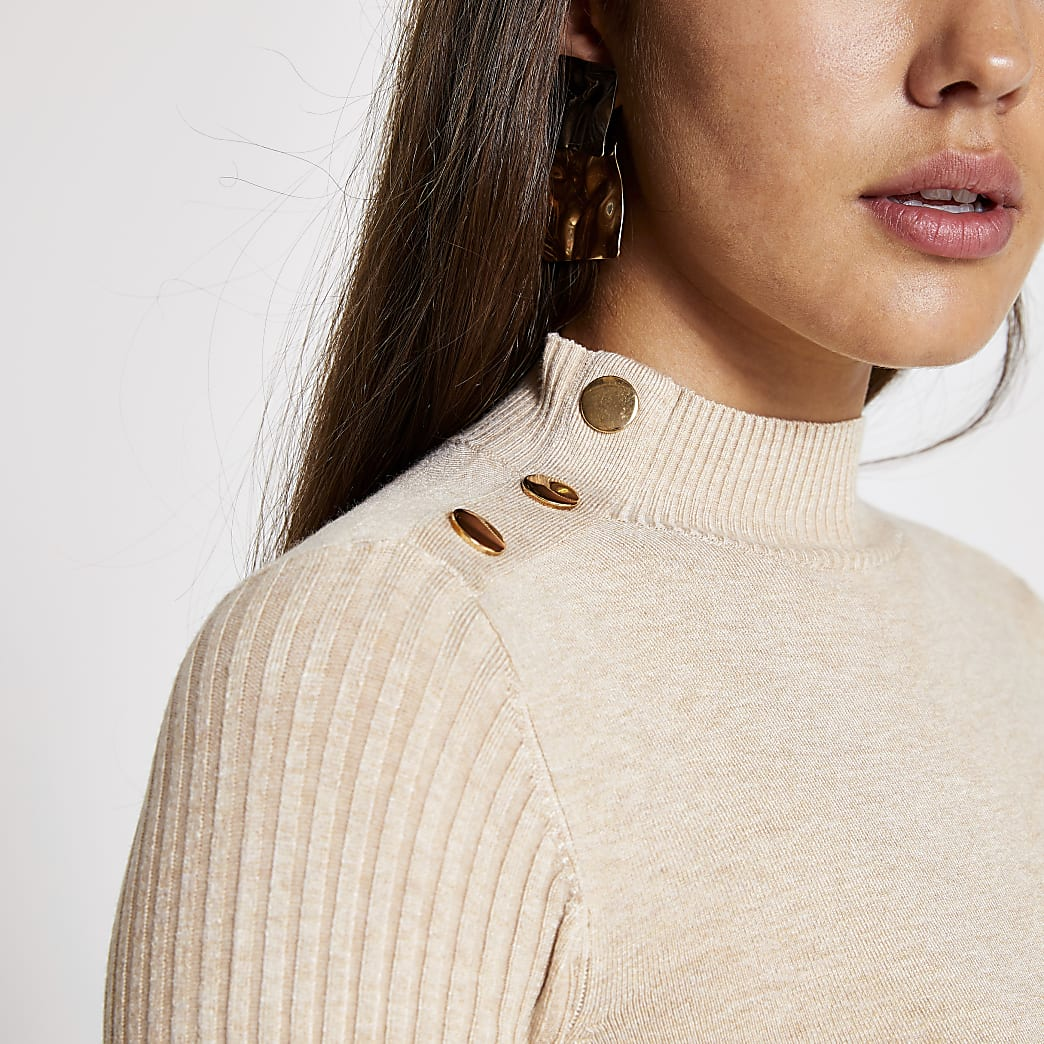 Beige long sleeve high neck rib knitted top