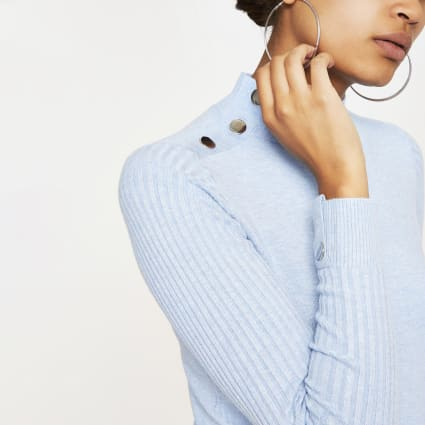 Light blue fitted high neck knitted top
