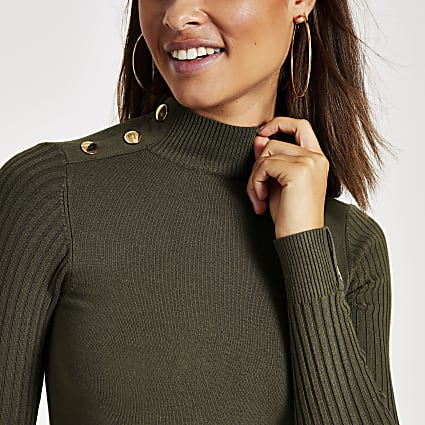 Khaki long sleeve high neck rib knitted top