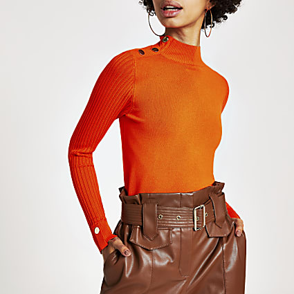 Orange long sleeve high neck rib knitted top