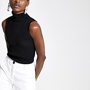 Black ribbed roll neck sleeveless top