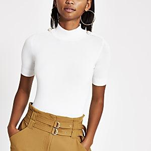 Crème gebreid T-shirt met pareltjes