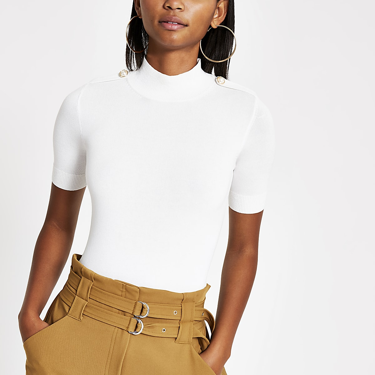 Cream knitted pearl T-shirt