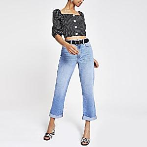 Middenblauwe boyfriend jeans